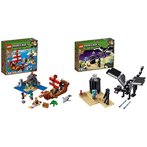 LEGO 21152 Minecraft The Pirate Ship Adventure Building Kit, Colourful & 21151 Minecraft The End Battle Collectible Toy