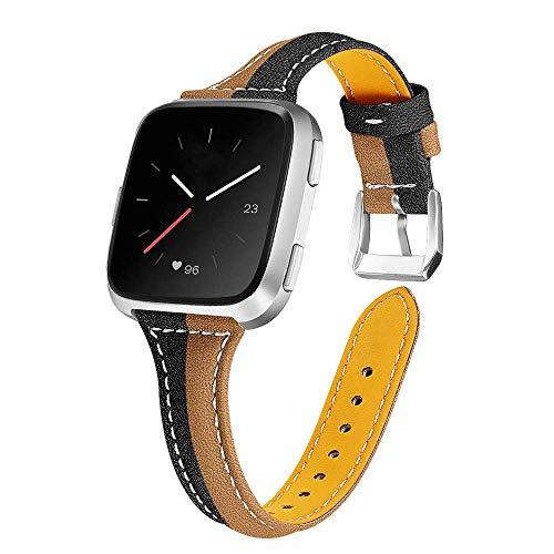 Uhrenarmbänder Damen Lederarmband Für Fitbit Versa 2 / Versa/Versa Lite, Mode Zweifarbige Echtlederarmbänder Ersatzarmband Verstellbares Armband Für Fitbit Versa 2 / Versa/Versa Lite, B.