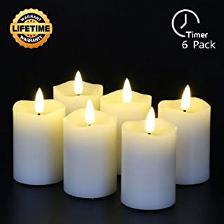 Eywamage Flameless Pillar Candles Battery Operated with Timer Real Wax LED Candles 6 Pack Ivory D 2