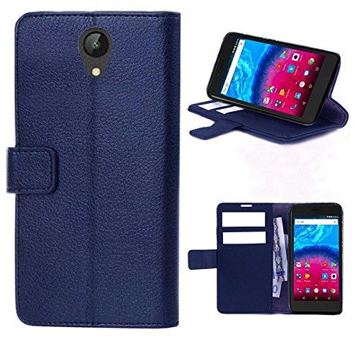 starz mobiles accessoires ARCHOS Core 50 - Tasche Gummi TPU Schutz Handytasche (Folio Dark Blue)