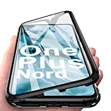 JoiCase Funda para OnePlus Nord Adsorcion Magnetica Carcasa 360 Grado Protección Estuche Marco Aluminio Untre Delgada Háptico Vidrio Templado Anti Choque Metal Flip Cover, Negro