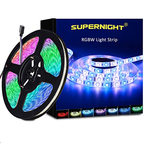 RGBW LED Strip Light Waterproof, SUPERNIGHT 16.4ft 300leds 5050 SMD Lighting Kit with 300 LEDs Flexible Rope Lights for Bedroom, Christmas, Mother's Day, Party (RGB + Cool White)