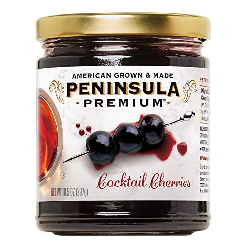 Peninsula Premium Cocktail Cherries | Award Winning | Deep Burgundy-Red | Silky Smooth, Rich Syrup | Luxe Fruit Forward, Sweet-Tart Flavor | Gourmet | American Grown & Made | 10.5 oz