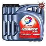 Total Quartz 5000 15w40 - Aceite de motor diésel (3 x 5 L, 15 L)