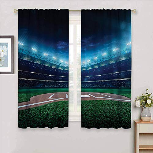 Sports Decor Living Room Blackout Curtains, Curtains 84 inch Length Professional Baseball Field at Night with spotlights Playground Stadium League Theme Soundproof Shade Green Blue W84 x L84 Inch