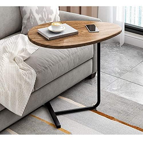 HCYY Mesa auxiliar ovalada de madera maciza, mesa auxiliar auxiliar con soporte de acero inoxidable en forma de C para sala de estar, dormitorio, balcón (11.8 x 17.7 x 24.2 pulgadas)