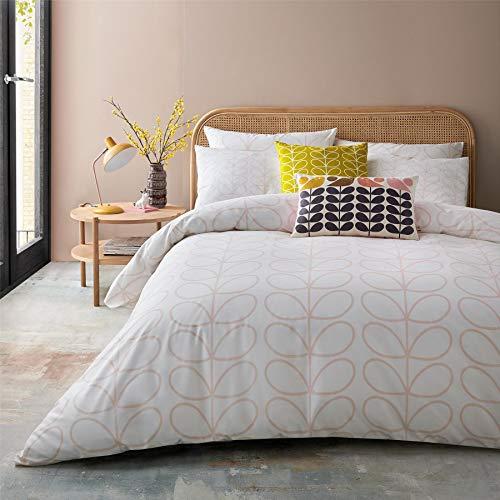 Orla Kiely Linear STEM Pink White 200TC 100% Cotton Double (DUVET COVER 200CM X 200CM) 3 Piece Bedding Set