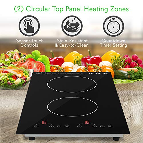 Product Image 4: NutriChef – Dual 120V Electric Induction Cooker – 1800w Digital Ceramic Countertop Double Burner Cooktop – Black
