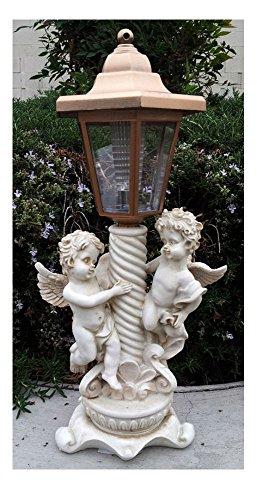 2 Outdoor Garden Decor Solar Fairy Angel/Cherub Statue Sculpture LED Lights ((2) Twin Boy Angels)