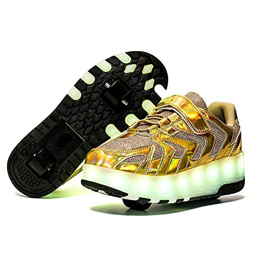 Patines De Ruedas con Luz LED para Niños -Zapatos Técnicos De Skate para Niños Y Niñas-Zapatillas De Deporte Luminosas De Doble Rueda Recargables con USB
