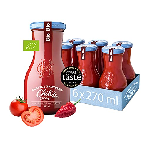 Curtice Brothers 6er-Pack Organic Chili Tomato Ketchup - BIO Ketchup aus der Toskana mit 77% Tomaten Anteil und feuriger Chili-Note - 6 x 300g