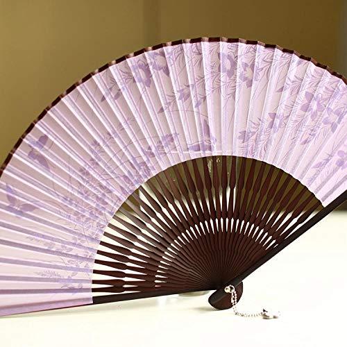 Handfächer Weiblicher Fan Japanischer Faltfan Essstäbchen Fan Chinesischer Stil Einfache Nudeln Eleganter Schmetterling Schilf-Flieder