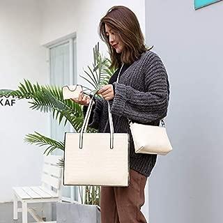 WTYD Single Shoulder Bag 3 in 1 Crocodile Texture PU Shoulder Bag Ladies Handbag Messenger Bag (Black) (Color : White)