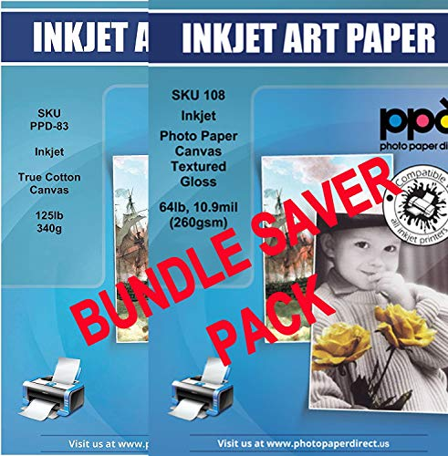 """PPD Inkjet Bundle Glossy Canvas Textured Heavyweight Photo Paper A4 (8.27x11.69'' similar to 8.5x11"""") 64lbs 10.9mil x 20 sheets and Canvas 100% Real Printable Cotton LTR 8.5 x 11"""" 125lbs. x 10 sheets"""