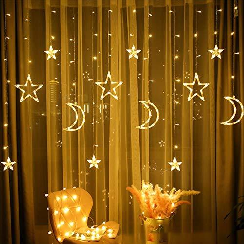 LED Lichterketten 3,5 m Star Moon LED Vorhang Lichter Girlande Hochzeit Dekorationen für Ramadan, Weihnachten, Hochzeit, Party, Zuhause, Terrasse, Rasen
