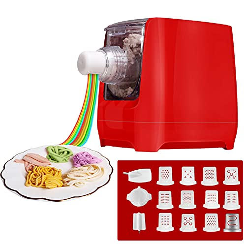 Pasta Maker Machine, Home Automatic Noodle Extruder Machine, 12 Noodle Shapes to Choose - Make Spaghetti, Fettuccine, Macaroni, or Dumpling Wrappers,One-key Automatic Operation For Kitchens (Red)