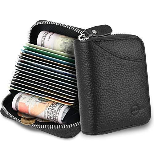 MUCO Tarjeteros para Tarjetas de Credito, RFID Wallet Pasaporte, Piel Auténtica, Titular de la Monederos con Cremallera (Negro)