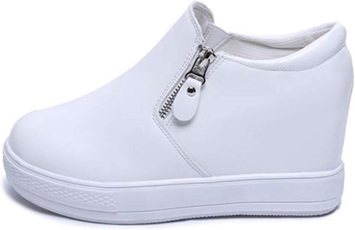 T-JULY Women's Hidden Heel Casual Platform shoes White Black shoes for Women Height Increasing Wedges shoes Sneakers
