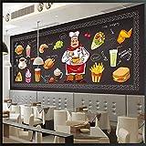 4D Tapeten Wandbilder,Kreative Cartoon Koch Burger Trinken