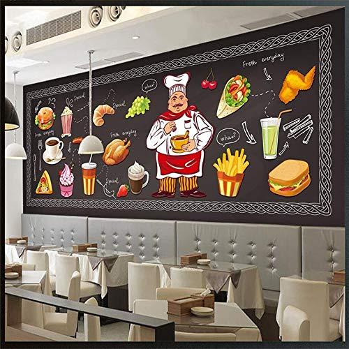 Fotobehang, wandafbeelding, creatief, karikatuur, chef-burger van Huhn, Rôti drank, lekkere levensmiddelen, groot, kunst-poster voor de burger Shop restaurant op de achtergrond 24in×48in 60cm(H)×120cm(W)