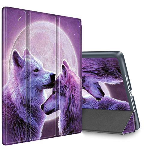 AIRWEE 2019 iPad Air 10.5/iPad Pro Case 10.5' 2017 Protective Case Auto Wake/Sleep Adjustable Tablet Cover Stand Shell with Pencil Holder,Purple Wolf