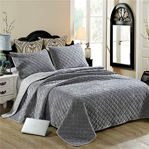 Gray block print bedspread, quilted bedspread Bedroom, breathable, washable duvet cover from Tartan, linen with two pillowcases,270 * 234cm