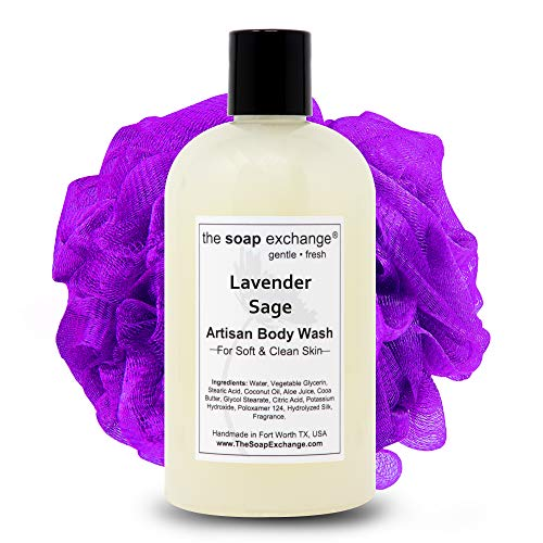 The Soap Exchange Body Wash - Lavender Sage Scent - Hand Crafted 12 fl oz / 354 ml Natural Artisan Liquid Soap for Hand, Face & Body, Shower Gel, Cleanse, Moisturize, Protect. Made in the USA.