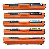 5 cartuchos de tóner láser compatibles con ECS CF350A CF351A CF352A CF353A 130A para impresora HP Color LaserJet Pro MFP M176n M177fw