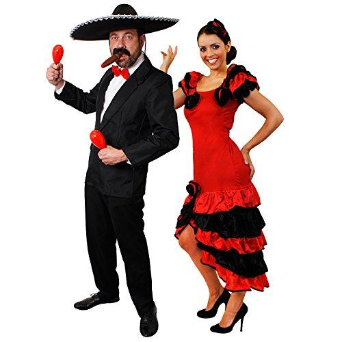 I LOVE FANCY DRESS LTD SPANISCHES Rumba Salsa Paare+Maracas=PERFEKTES Paare KOSTÜM VERKLEIDUNG AN Karneval Fasching Party Mexico= ROTE Maracas + Anzug-SMALL + Kleid-Large