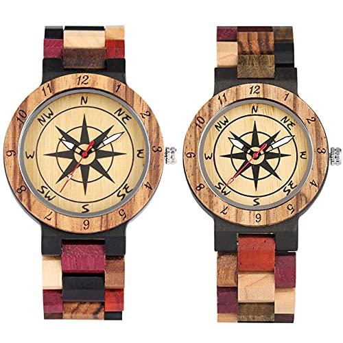 FFHJHJ Reloj de Madera Parejas, Reloj de Pulsera de Madera de Cuarzo, Cierre Plegable, Amante de los Relojes de Madera Natural, Reloj de Pareja 2