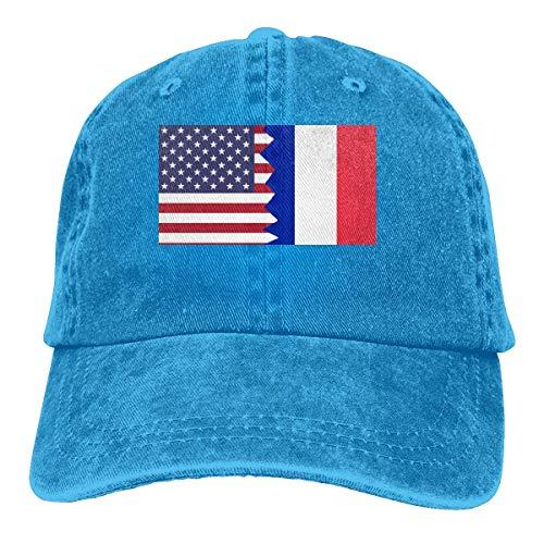angwenkuanku Gorra de béisbol para hombres y mujeres, bandera de Francia americana...