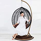 Swing Seat Chair With Stand For Gardens Bedrooms Indoor Outdoor Hanging Furniture (Black & brown)