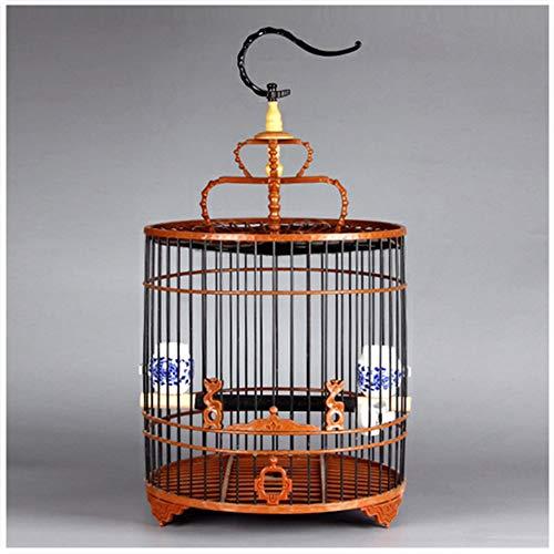 Draagbare papegaaienkooi siervogelkooi met porseleinen voerbak en afdekdoek,Brown,cage