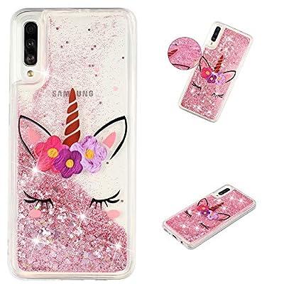HopMore Funda Silicona para Samsung Galaxy A70 Brillante Glitter Liquido 3D Purpurina Transparente Dibujo Carcasa Blando Resistente Caso para Chicas Mujer - Pink Unicornio