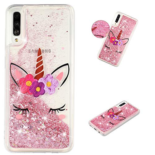 HopMore Funda Silicona para Samsung Galaxy A70 Glitter Liquido 3D Brillante Purpurina Transparente Dibujo Carcasa Resistente Caso Protección para Chicas Mujer - Unicornio