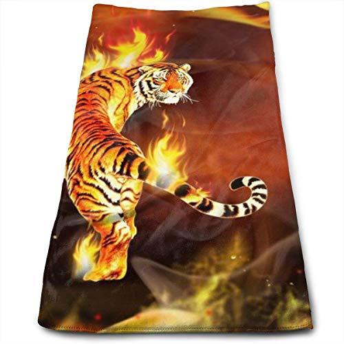 AEMAPE Cool Tiger in Flame Printed Hand Towel, Toallas de baño Grandes, Suaves y Muy absorbentes, Multiusos para Manos, baño, Gimnasio, Hotel, SPA, 12 'x 27'