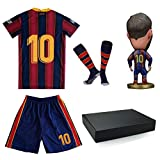 New #10 Soccer Jersey for Boys Girls Youth Size Uniform with Doll and Sock Kids Football Shirt Gift Set (10-11year/size26) Blue/Red