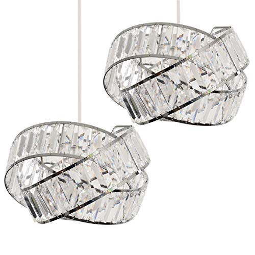 Pair of - Modern Polished Chrome & Clear Acrylic Jewel Intertwined Rings Design Ceiling Pendant Light Shades