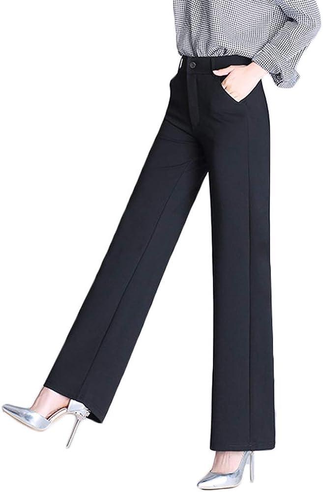AvaCostume Women's High Waist Palazzo Trousers Wide Leg Dress Pants