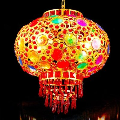 Injuicy Lighting 30CM Chinese Lantern Festive Wedding Handmade Crystal Beads 360 Rotating Balcony Droplight Ceiling Lamp