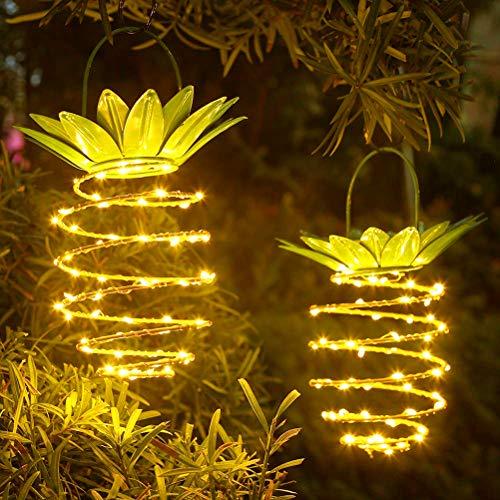 Yissma Ananas Solar Lamp Waterdicht Decoratie Nachtlampje voor pad Outdoor Warm Hangende lichtsnoer voor veranda (2 stuks)