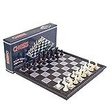 GIGIEroch Juego de ajedrez Juego de ajedrez de Viaje magnético Juego de ajedrez de Damas de ajedrez 3 en 1 para Adultos, niños Juego de ajedrez portátil Plegable Juego de ajedrez Tradicional