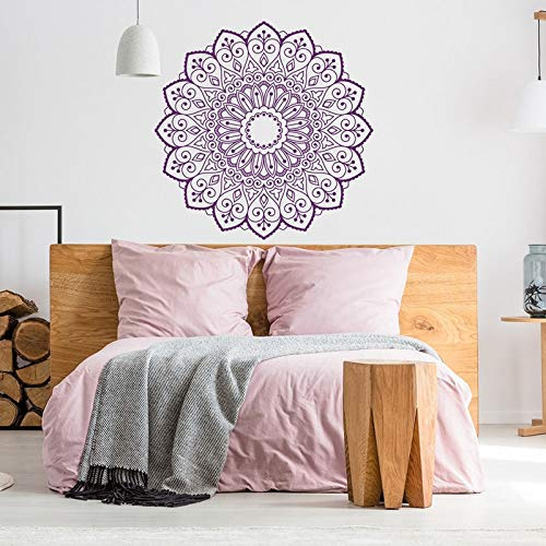 Calcomanía de pared de Mandala extraíble, calcomanía de pared de dormitorio de mandala bohemia, decoración marroquí, calcomanía de Mandala, calcomanía de meditación para pared A1 57x57cm