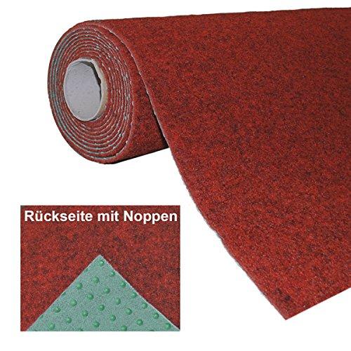havatex Rasenteppich Kunstrasen mit Noppen 1.550 g/m² - Rot Blau Grau Braun Beige oder Anthrazit | Meterware | wasserdurchlässig | Balkon Terrasse Camping, Farbe:Rot, Größe:200 x 600 cm