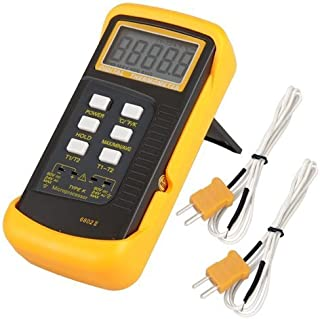 Signstek 3 1/2 6802 II Dual Channel Digital Thermometer -58°F~1022°F(-50~1300°C) with 2 K-Type Thermocouple Sensor Probe