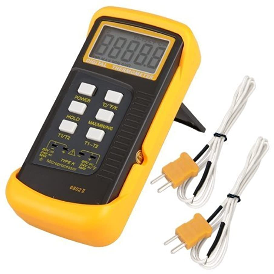 YoungGo LCD Screen 3 1/2 6802 II Dual Channel Digital Thermometer -50 ~ 1300 °C (-58 ~ 2372 °F) with 2 K-Type Thermocouple Sensor Probe