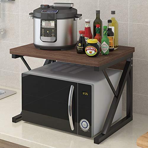 Estantes de la estante de la cocina, estanterías Spice Racks Microondas Estantes de almacenamiento Pisos perforados Doble Escritorio Horno Estante A1