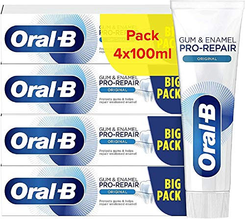 Oral-B Dentifricio Gengive & Smalto Pro-Repair Classico, Confezione da 4 Dentifrici da 100 ml, Spedito in Cartone Ecologico Riciclato