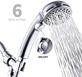 Handheld Shower Head with ON/OFF Switch 6 Setting Detachable Shower Head with Hose High Pressure Handheld Shower Sprayer Set
