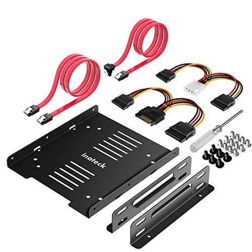"""Inateck Kit Montaje 2 x 2.5 a 3.5"""" HDD o SSD Adaptador Bahía para Disco Duro, Soporte, Marco, con 2 x SATA Cables de Datos y 2 x Cables de Corriente, Negro,ST1004"""